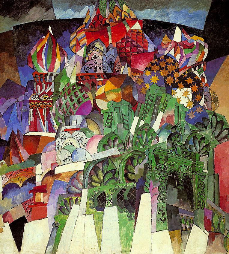 アリスタルフ・レントゥーロフは、パリに留学中にキュービスム (立体派) の支持者に出会った。これは彼の作品に反映された。建物が動的に描写された結果、モスクワは超自然的な花盛りの「驚異的な建築的景観」のように見える。/ 聖ワシリイ大聖堂、アリスタルフ・レントゥーロフ、1913年