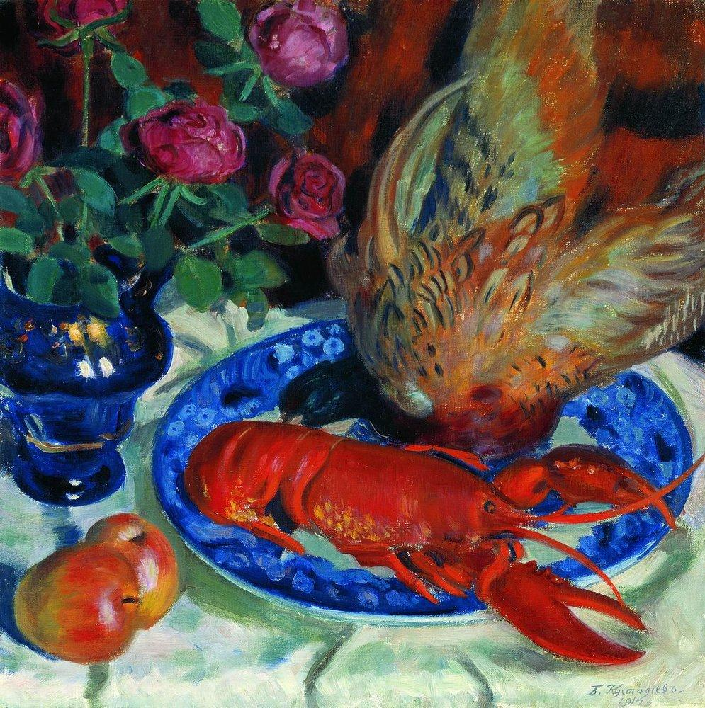 Still life of pheasant, Boris Kustodiev, 1914