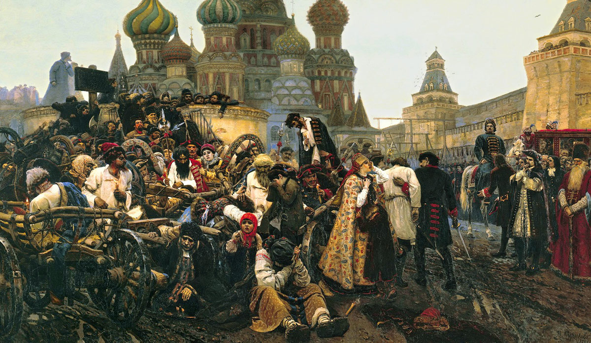Morning of the Execution of the Streltsy. Vasiliy Surikov, 1881 / Russian Czar Peter the Great executed a group of rebels after a revolt in 1698.