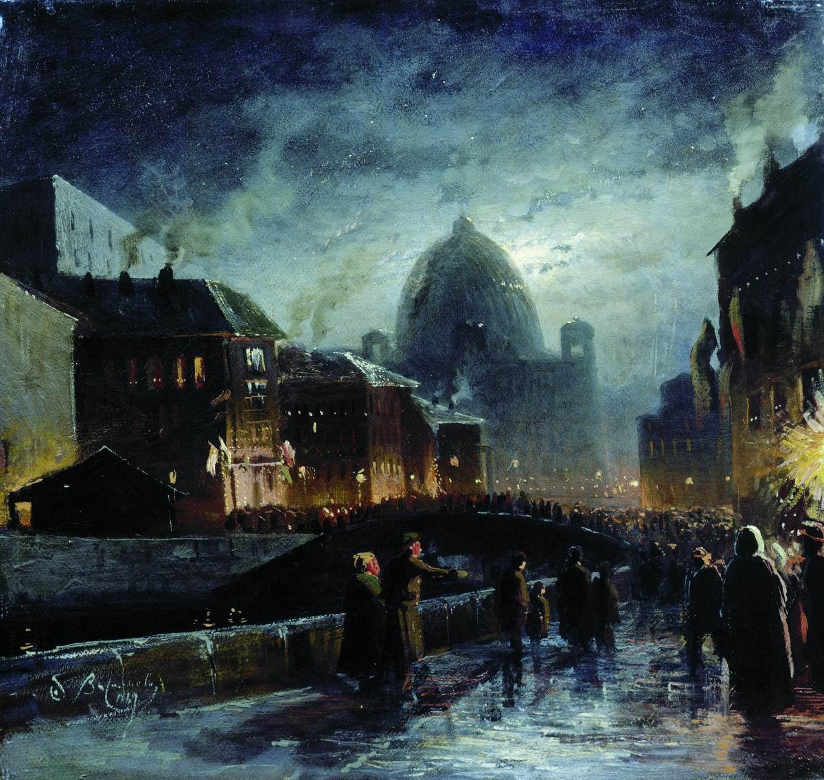 """Първото улично осветление в Русия се появява в Санкт Петербург. Събитието е свързано с датата 23 ноември 1706 година. Оттогава на всяко голямо тържество по фасадите на сградите на четирите главни улици в града се окачват фенери. / """"Светлините на Санкт Петербург"""", Фьодор Василев."""