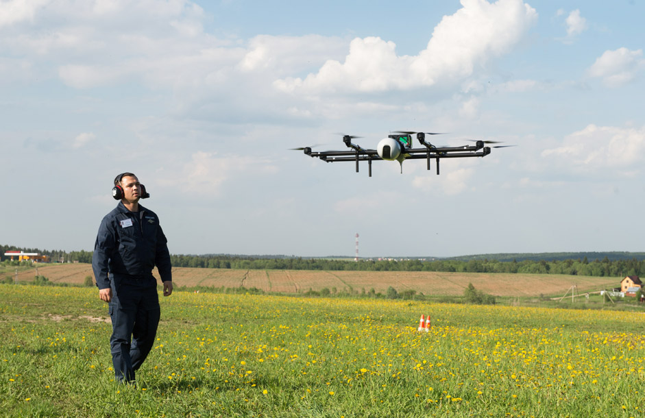 "A demonstration flight of an unmanned aerial vehicle (UAV), produced by Zala  company, at the ""Vikhrevo"" airport, in Moscow region."