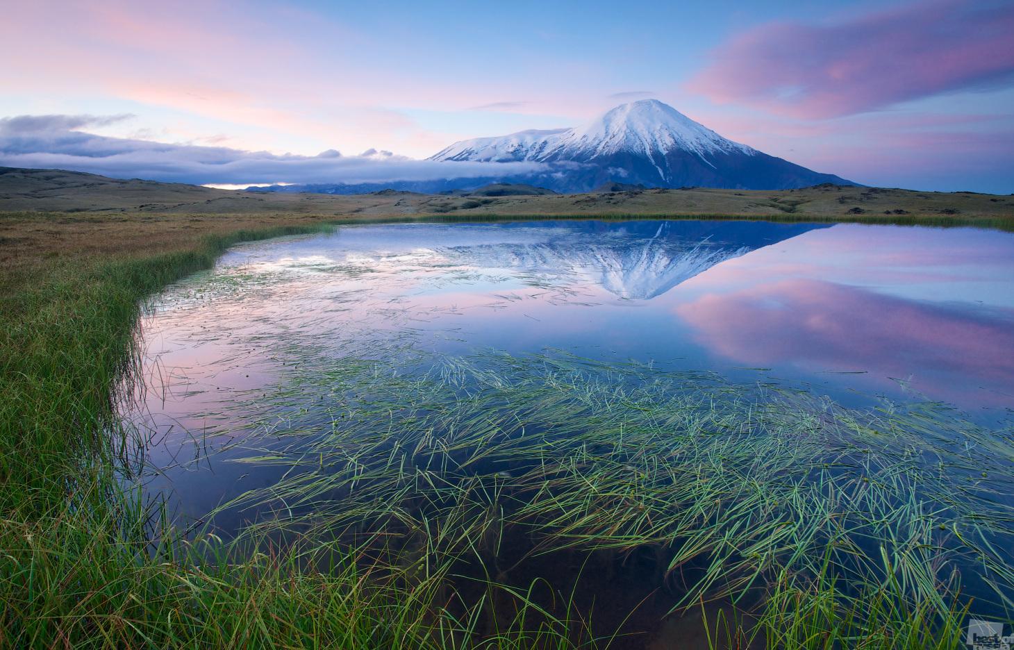 El volcán Tolbachik al amanecer. Kamchatka.