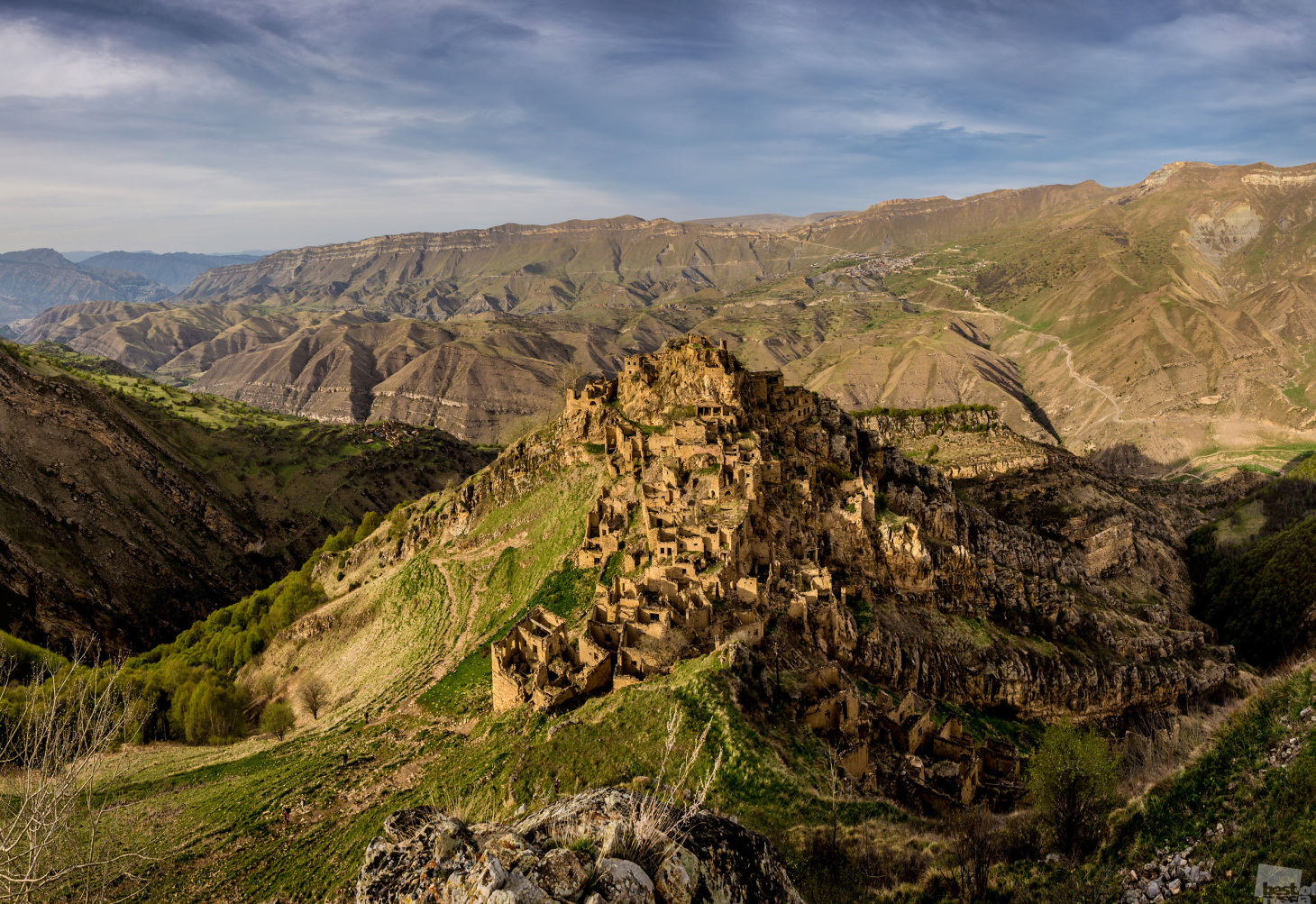 The ghost village of Gamsutl is an abandoned ancient Avar settlement in Dagestan, North Caucasus. The village, which is carved in rock atop a 4600-feet high mountain, is barely noticeable these days.