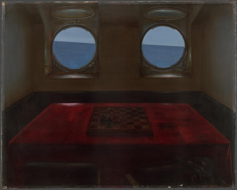 展覧会のテーマは1960年代終わりから1990年代初めまでの美術の創作運動であるスーパーリアリズム(ハイパーリアリズム)。/ボルコフ「フロンティア船にて」(1977)、国立トレチャコフ美術館