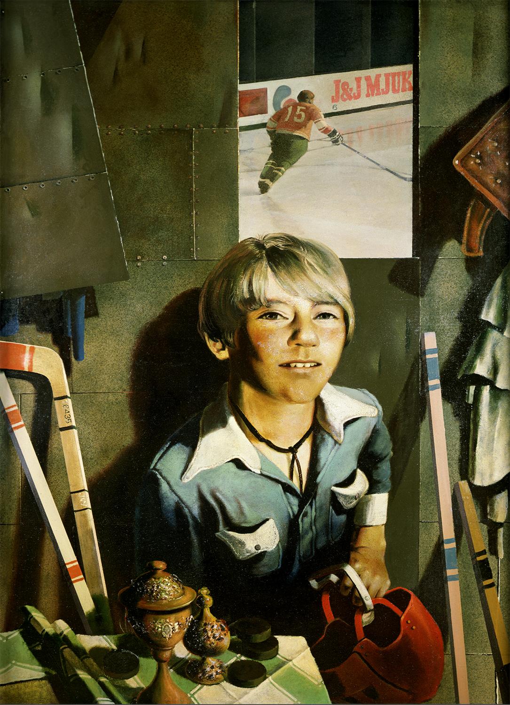 スーパーリアリストはその作品の中で、芸術的幻想と現実の間にある従来からの相反を取り除いている。写真のイメージは「第二の本質」とみなされ、知覚の全否定と前衛主義に取って代わった。/タンミク「少年とホッケースティックとヘルメット」(1978-1979)、国立トレチャコフ美術館