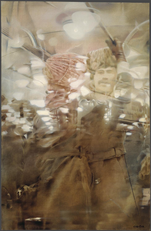 ファイビソヴィチ「隣の車両の反射」(1985)  「モスクワ地下鉄」シリーズより、国立トレチャコフ美術館
