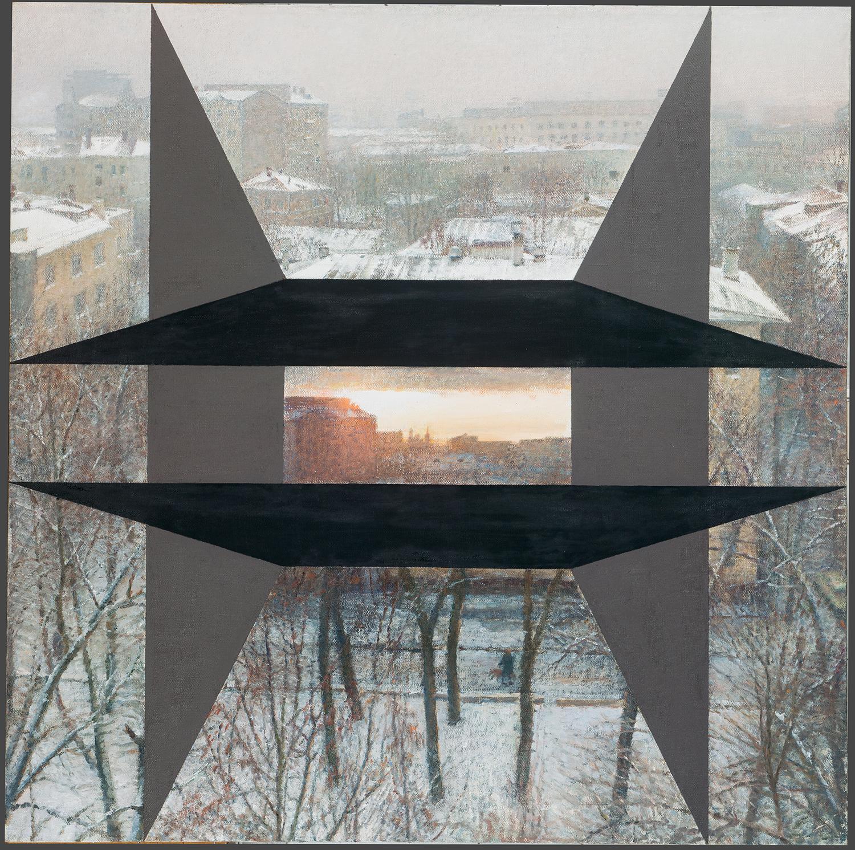バジレフ「作業場の窓から」(モスクワの庭)(1990)、国立トレチャコフ美術館