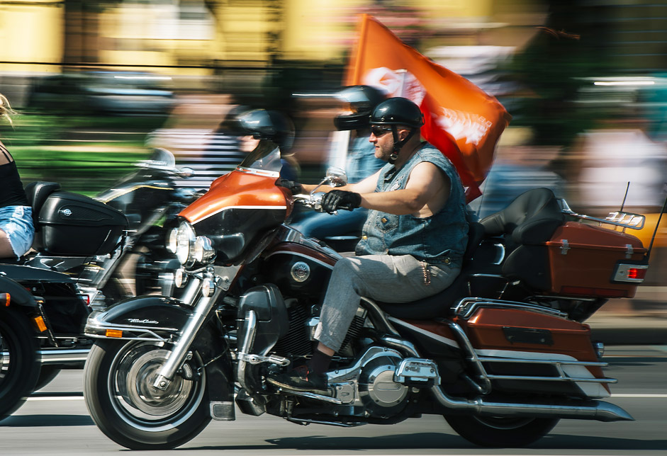 Members of the Harley-Davidson St. Peterburg Russia club during a bike parade in St. Petersburg.