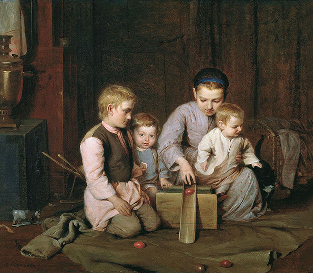 "Nikolai Koshelev. ""Children rolling Easter eggs"" 1855"