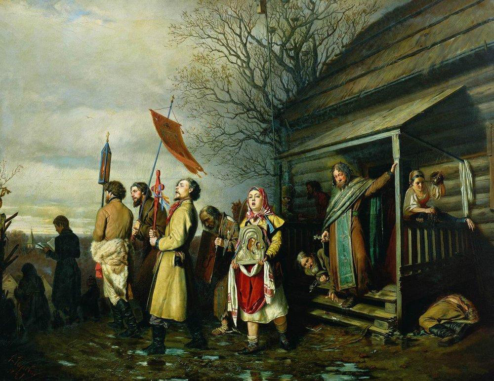 "Vasiliy Perov. ""Religious procession in a village at Easter"" 1861"
