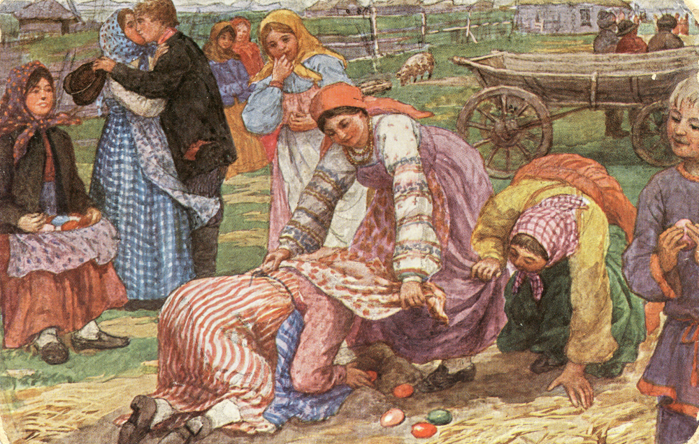 "Fedot Sychkov. ""Playing kuchki (sand hills)"" At Easter girls make sand hills and hide eggs under half of them. Players have to guess were the eggs are. If they win, it means luck will follow them. 1904-1914"