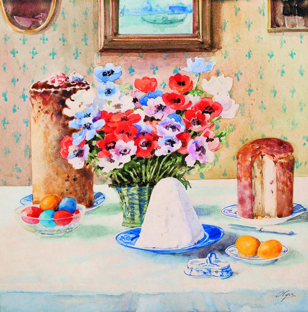 "The Grand Dutchess Olga Romanova . ""Easter still life"". 1930"