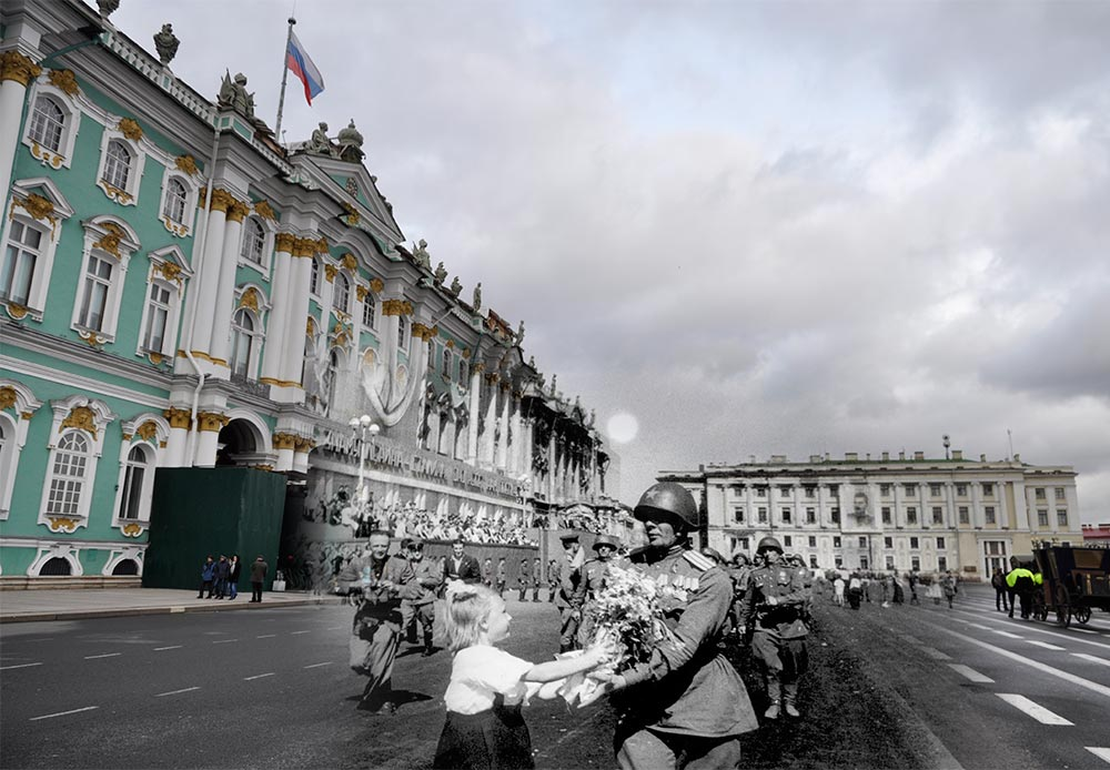 Leningrad, (now St Petersburg), 1945-2013. Meeting of Soviet soldiers on Palace Square.