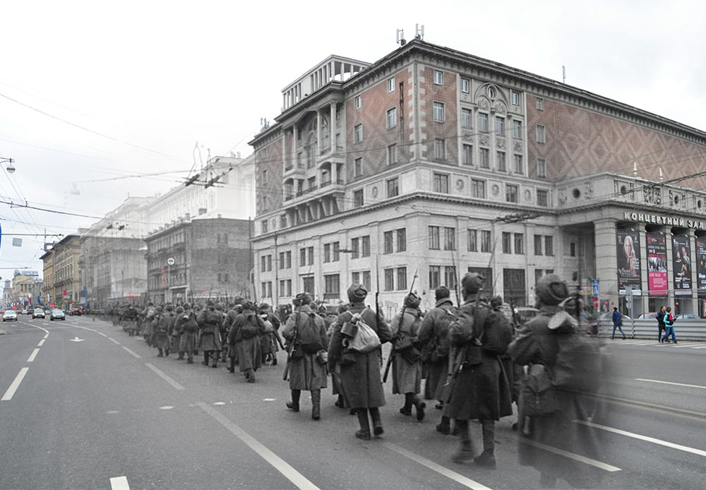 Moscow, 1941-2012. Rank-and-file soldiers on Tverskaya Street.