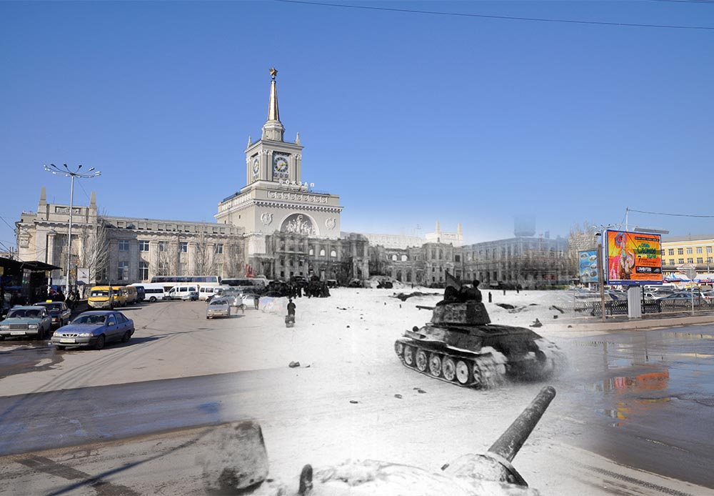 Stalingrad (now Volgograd), 1943- 2013. Soviet T-34 tanks near a railway station.