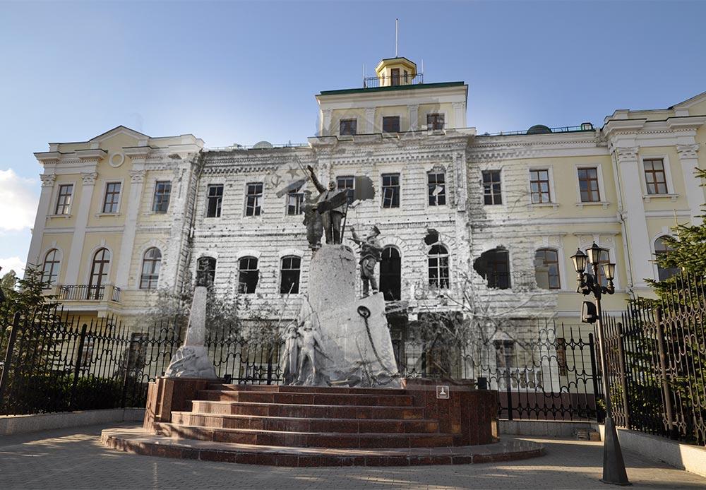 Novorossiysk, 1943-2014. Soviet navy flag atop a monument to Vladimir Lenin.