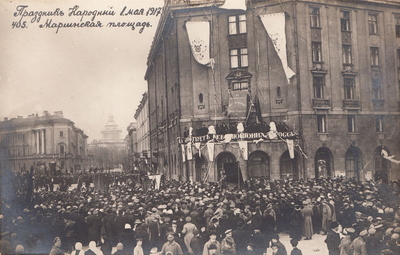 The May 1 holiday in Russia provides a splendid opportunity to enjoy the coming spring. / 1917. May 1. Public celebration on Mariinsky Square, St. Petersburg