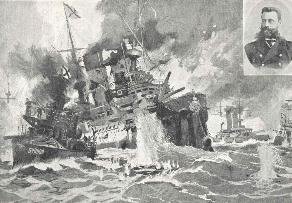 駆逐艦「ブイヌイ」が、沈没した装甲艦「ボロジノ」から負傷したロジェストヴェンスキー提督を救出