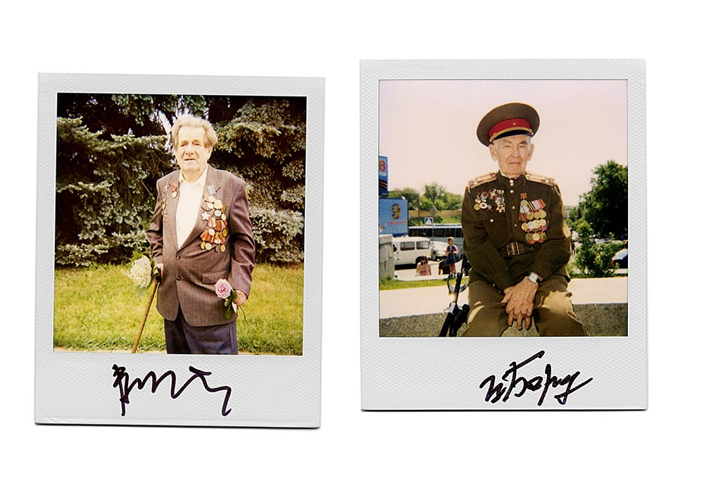 "For more than five years, photographer Arthur Bondar has been taking portraits of World War II veterans from Russia and Ukraine on Polaroid film in a series called ""Signatures of War"". After taking each picture, Bondar asks the veteran to sign the image. / Velder Nikolay Grigoryevich (left), mortar troop. Bardyukov Vasiliy Yakovlevich (right)."