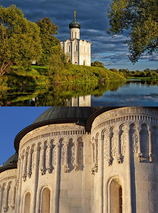 Die Mariä-Schutz-und Fürbitte-Kirche an der Nerl  (1165) in der Nähe des Dorfs Bogoljubowo ist eines der großartigsten russischen Architekturdenkmäler. Als ein wichtiger Vertreter der weißen Kirchen und Klöster von Wladimir und Susdal ist auch sie UNESCO-Welterbe.