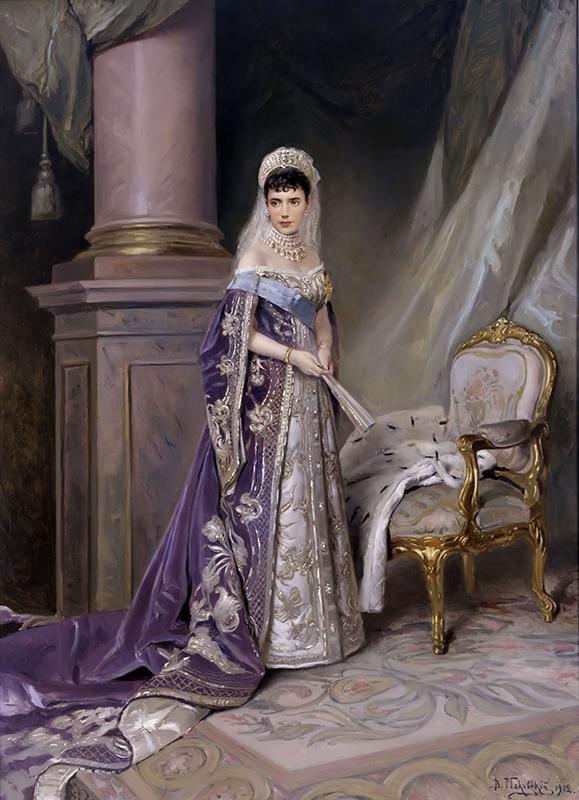 マリア・フョードロヴナ皇后、アレクサンドル3世の妻で、ロシアで最後のツァーリとなったニコライ2世の母親。/ 『マリア・フョードロヴナ皇后』、ウラジーミル・マコフスキー、1912年