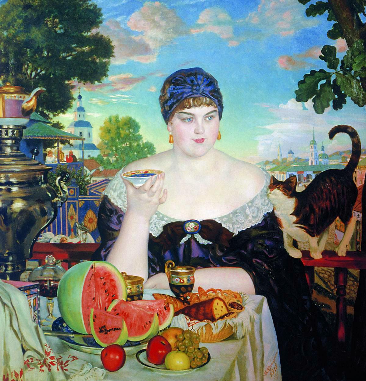 ボリス・クストーディエフは、特徴的なロシア女性のタイプというものを、『商人の妻』、『ヴォルガ川の娘』や『美』といった作品で再現するとともに、画家としての彼の感嘆の念とちょっぴりの皮肉をも含ませている。/ 『茶を飲む商人の妻』、ボリス・クストーディエフ、1918年