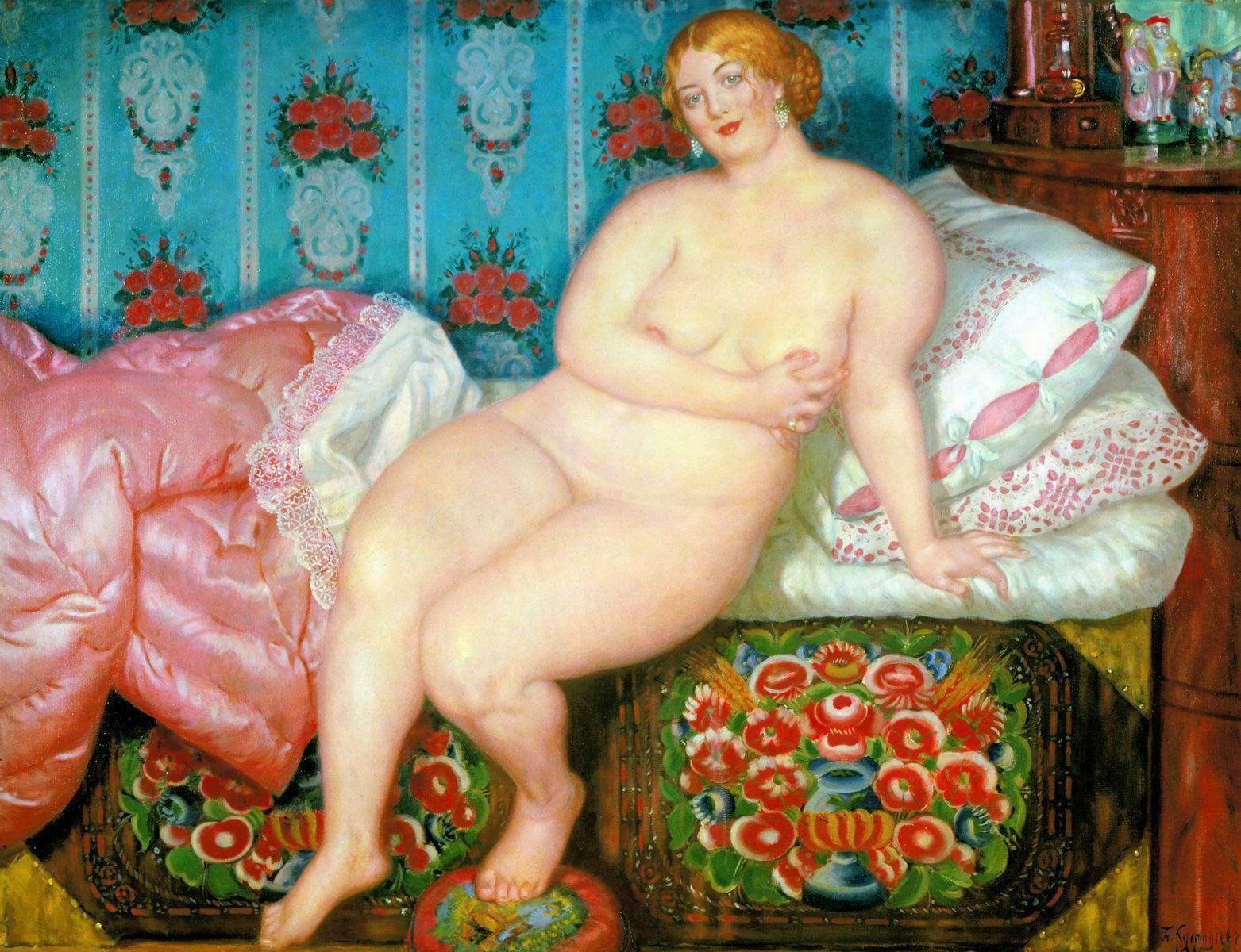 """12/16. Кустодијев је 1915. завршио ремек-дело """"Лепота"""". Снагом талента, он овде креира нову уметничку стварност. На слици богате текстуре пажњу посматрача привлаче вешто приказани детаљи просторије, али је одмах јасно да највећа лепота лежи у женском телу. """"Лепота"""", Борис Кустодијев, 1915."""