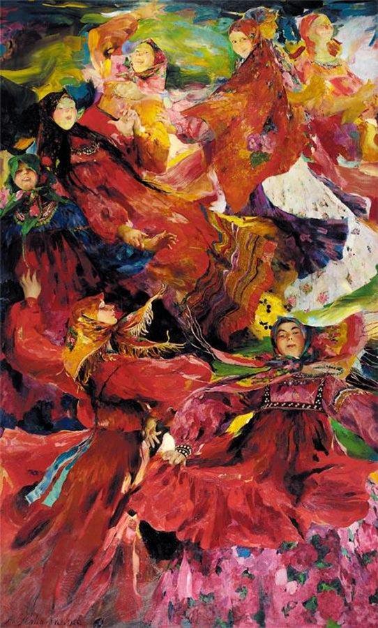 イコン画家として訓練を受けたフィリップ・マリャーヴィンは、20世紀初頭のロシアを代表する画家の一人で、明るい色彩と大胆な筆遣いを組み合わせた絵画に重点的に取り組んだ。/ 『ファランドール』、フィリップ・マリャーヴィン、1926年