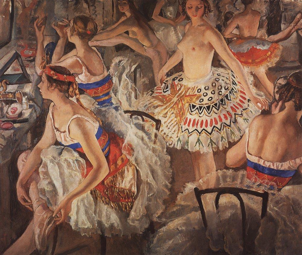 ジナイーダ・セレブリャコワは、娘と共にマリンスキー劇場に頻繁に足を運び、楽屋にも顔を出した。彼女が3年の期間を通してバレリーナたちと行った創造的な対話は、一連のバレエ肖像画や作品に反映されている。/ 『バレエの楽屋で(ボリショイ劇場のバレリーナたち)』、ジナイーダ・セレブリャコワ、1922年