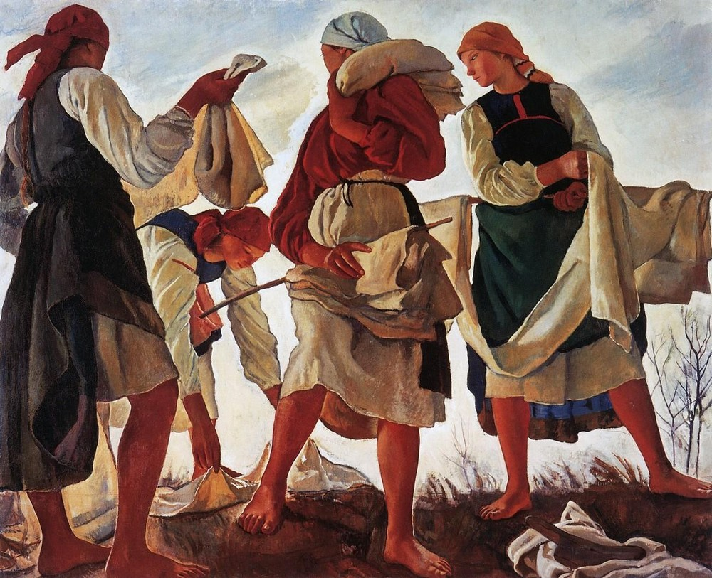 1914〜1917年にかけて、セレブリャコワはロシアの農村生活、小作農の労働(主に女性たちの)と自然に焦点を当てた一連の絵画を創作した。労働に従事する小作農女性たちの態度は威厳と力強さに満ちている。/ 『キャンバス地の漂白』、ジナイーダ・セレブリャコワ、1917年