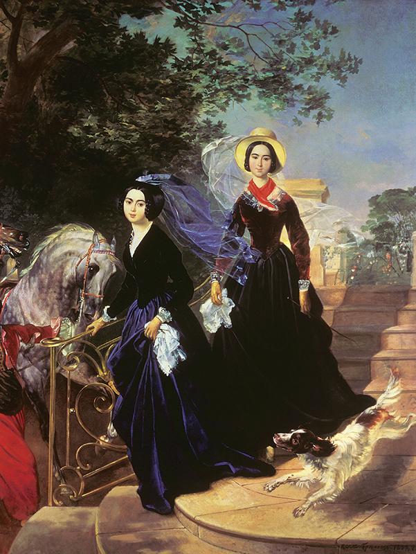 2 数々の描画をより詳しく見てみると、1世紀の間にロシア人の美の感覚に変化が生じたことがわかる。/『シシマリオワ姉妹の肖像』、カルル・ブリュロフ、1839年