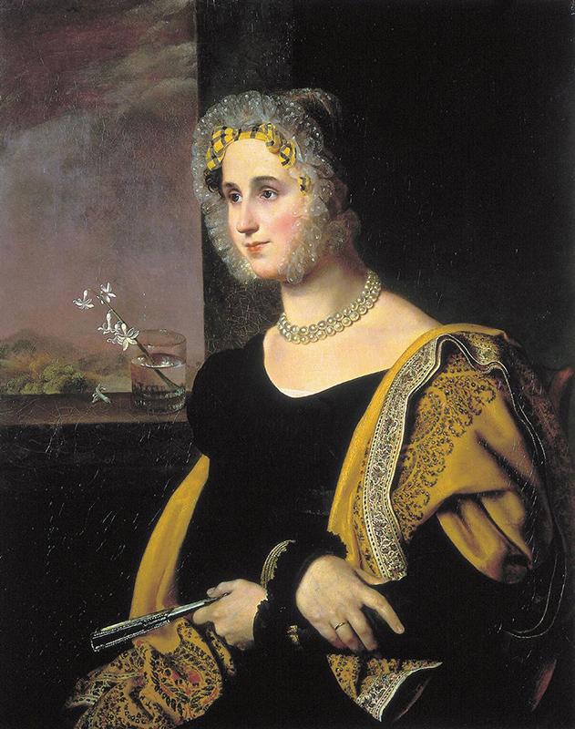 画家にとっては、題材の女性が皇后であるか、未亡人であるか、小作農の娘であるかはほとんど関係ない。それぞれの絵画はロシア女性に対する敬慕の念で満ちている。/ 『エカテリーナ・アヴドゥリナの肖像』、オレスト・キプレンスキー、1822年
