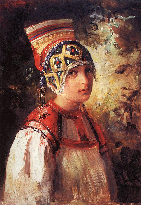 ここでご紹介するのは、宮殿でくつろいだ時間を過ごす女性たち、農園で作業に従事する女性、踊りをする女性、テラスに佇む女性、ソファで静かに眠る女性たちだ。それぞれのロシア人画家は、美のまばゆさを独自の方法で表現しようと試みた。彼らはどこにでもインスピレーションを見出し、あらゆる動作の優雅さや魅力を認識した。/ 『小作農』、マコフスキー、1897年