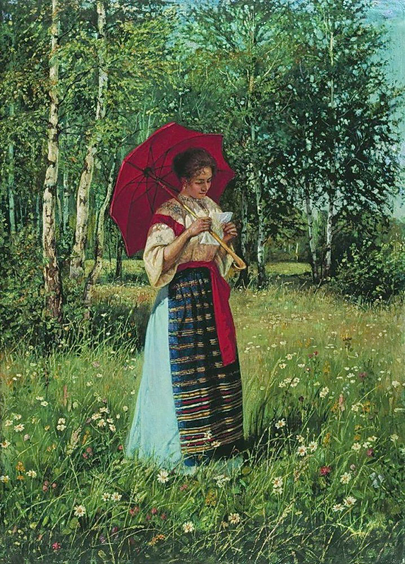"""6/16. На слици је приказана жена која чита писмо на пропланку окупаном сунцем. Њена мирноћа савршено се уклапа у околну природу. """"Читање писма"""", Николај Богданов-Бељски, 1892."""