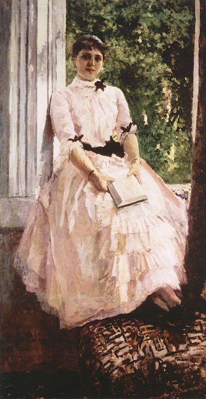 若く美貌のタティアナ・リュバトヴィチは画家の家の出身で、著名なオペラ歌手になった。この絵に描かれた当時の彼女は21歳だった。/ 『タティアナ・スピリドノヴナ=リュバトヴィチの肖像』、コンスタンチン・コローヴィン、1880年