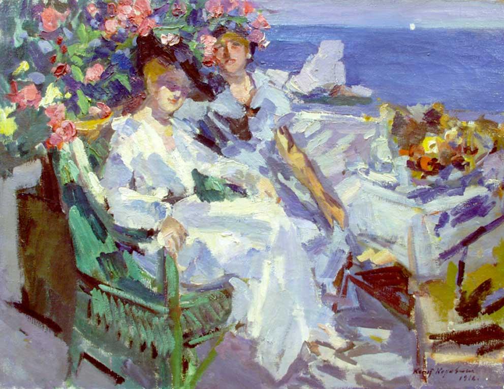ロシア女性の美しさは印象的で、多くの絵画がそれを題材としている。/ 『テラスで』、コンスタンチン・コローヴィン