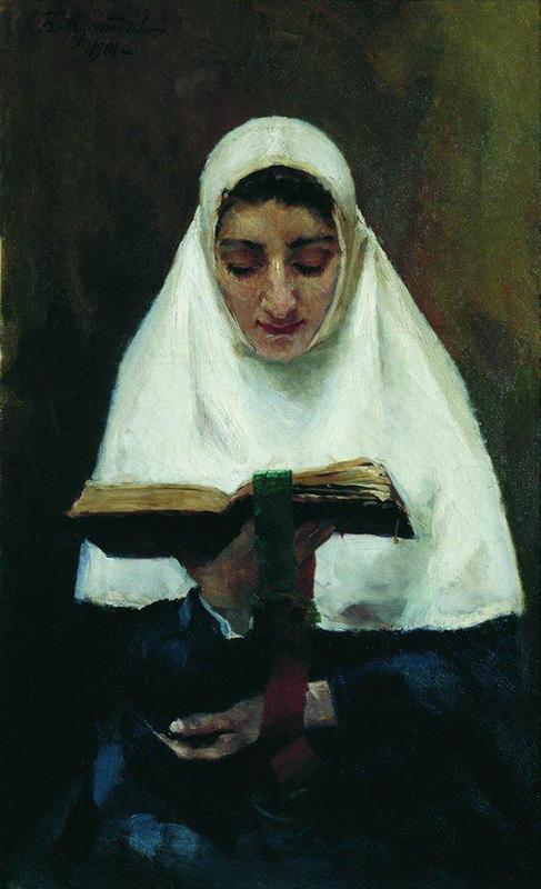 ボリス・クストーディエフは、きわめて色彩豊かで、人生の喜び、快活さ、田舎生活や大きな祝祭を描写した絵画で有名だ。ある女性のこの肖像画がきわめて特別なのにはそれなりの理由がある。女性美と謙虚さが同時に描かれているからだ。/ 『女子修道院長』、ボリス・クストーディエフ、1901年