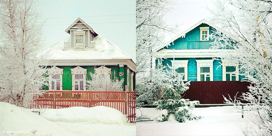 """4/8. Свака од ових кућа има јединствене украсне детаље, офарбане су различитим јарким бојама, а посебност им дају и традиционални украсни оквири за прозоре (рус. """"наличники""""), често обојени у бело."""