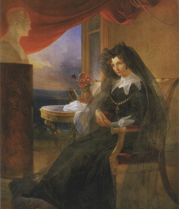 エリザヴェータ・アレクセーエヴナ (1779〜1826) は、婚姻によりロシア皇帝アレクサンドル1世の皇后となった。彼女はカールスルーエ (現在ドイツ領) でツェーリンゲン家のバーデン大公女、ルイーゼ・マリー・アウグステ・フォン・バーデンとして生まれた。/ 亡くなった夫の半身像をみつめる喪中のエリザヴェータ・アレクセーエヴナ、ピョートル・バシン、1831年。