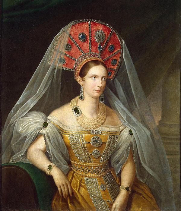 Aleksandra Fyodorovna (1798 – 1860), istri Kaisar Nikolay I. Ia lahir sebagai Putri Charlotte dari Prussia. / Digambarkan mengenakan pakaian formal Rusia. Potret Permaisuri Aleksandra Fyodorovna, A. Malyukov, 1836.