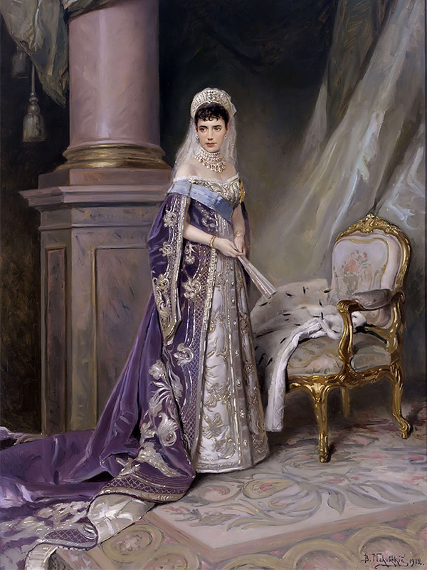 Maria Fyodorovna (1847 –1928), nama baptis Dagmar, merupakan putri Denmark yang menjadi permaisuri Rusia setelah menikah dengan Kaisar Aleksandr III dari Russia. / Potret Permaisuri Maria Fyodorovna, Vladimir Makovsky, 1912.