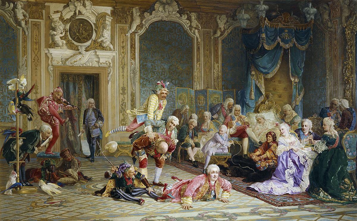 この作品にはアンナ・イヴァノヴナの寝室に集まった26人の人々が描かれている。ここに描かれている皇后は元気ではなく、ベッドに横たわりながら宮廷の道化師をの方を見つめている。/ アンナ皇后の宮廷の道化師たち、ヴァレリー・イヴァノヴィチ・ヤコビ、1872年。