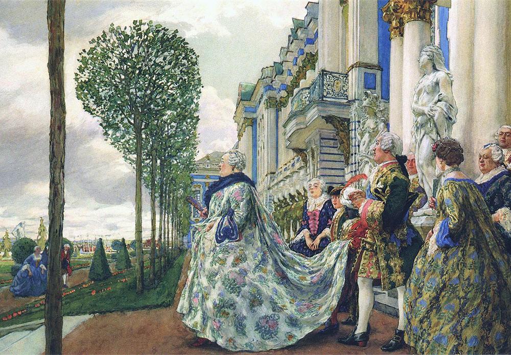 エリザヴェータ・ペトローヴナ (1709〜1726) は、宮廷内で革命を起こして王位を奪取した後の1741年から1761年まで統治した。ピョートル大帝の娘にあたる彼女は、父親がエカチェリーナ1世と正式に結婚した2年前に生まれた。/ ツァールスコエ・セロー (サンクトペテルブルクから南に24キロ離れた所にある、かつての離宮) でのエリザヴェータ・ペトローヴナ、エフゲニー・ランセレ、1905年。
