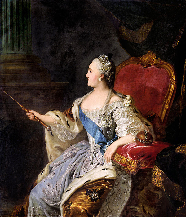 Yekaterina II (1729 – 1796) berkuasa setelah kudeta yang menggulingkan suaminya, Peter III. Ia memerintah dari tahun 1762 hingga 1796. Nama asinya ialah Sophie von Anhalt-Zerbst-Dornburg, dan ayahnya merupakan keluarga penguasa Jerman. / Potret Permaisuri Yekaterina yang Agung, Fyodor Rokotov, 1763.