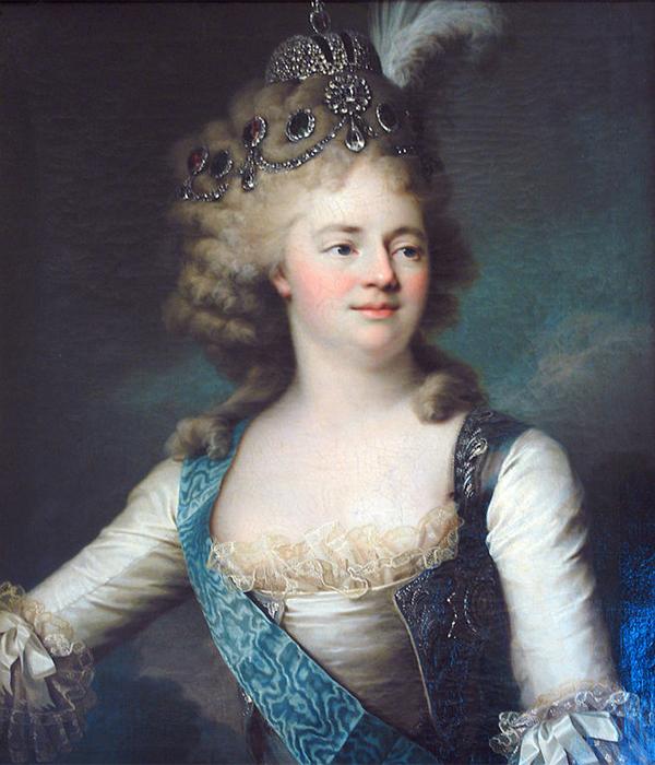マリア・フョードロヴナ (1759〜1828)、ロシア皇帝パーヴェル1世の2番目の妻。この夫婦には10人の子供ができた。ゾフィー・マリー・ドロテア・アウグステ・ルイーゼはプロイセン王国のシュテッティン (現在ポーランド領) で、ヴュルテンベルク公妃として生まれた。/ マリア・フョードロヴナ大公妃の肖像、ジャン=ルイ・ヴォワレー、1790年代。