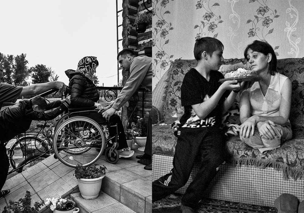 この一連の写真はスヴェトラーナ・トルブニコワを題材にしている。彼女は47歳で、4年前に両脚の膝下切断を受けたうえに失明しそうにもなった。/ 同居できるように長女がスヴェトラーナを呼び寄せてくれたが。生活条件が過酷だったため、スヴェトラーナは自分の家に戻ることを決意した。