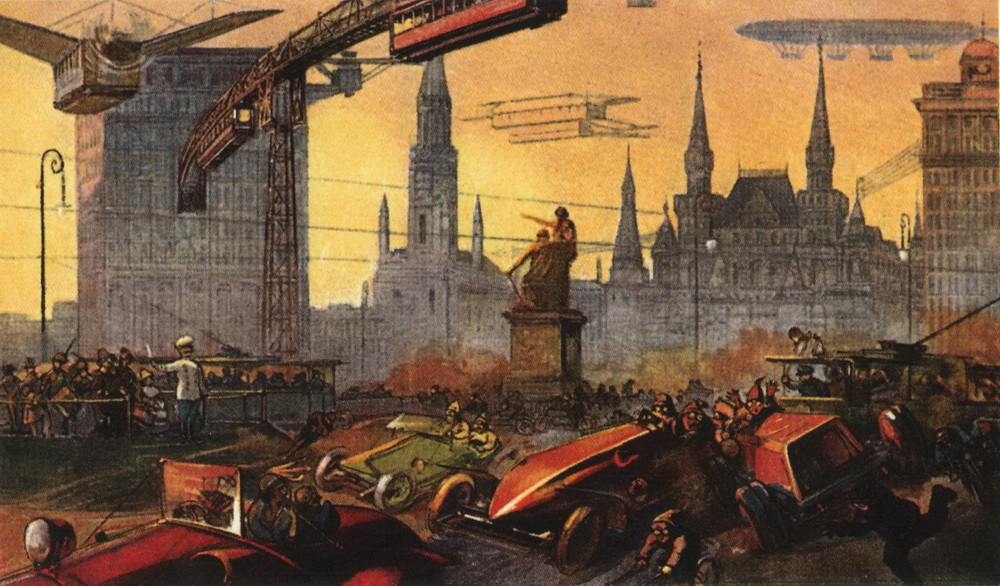 "One hundred and one years ago, in 1914, on the eve of the First World War, confectionery company Tovareshestvo Einem produced a series of postcards entitled ""Moscow of the Future"". Later, in 1922, the name of the company changed to Krasnyi Oktyabr (Red October), which became the most famous confectionary company in Russia. / ""Red Square. The noise of wings, the ringing of trams, the sound of bicycle bells and car sirens, the crash of engines, and the cry of the crowd. The monument to Minin and Pozharsky (who led a Russian force against Polish invaders in 1611-1612) is still on Red Square. A police officer with a sabre is in the center. This is reality in 200 years."""
