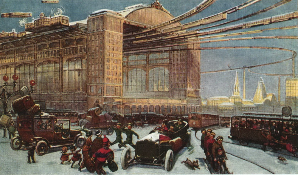 """Winter is the same as it was in our day, 200 years ago. The snow is the same, white and cold. Pictured is the Central Station of Ground and Air Transportation. Tens of thousands of people are coming and going, everything is moving extremely quickly, systematically and smoothly. Passengers who wish to can travel at the speed of a telegram."""