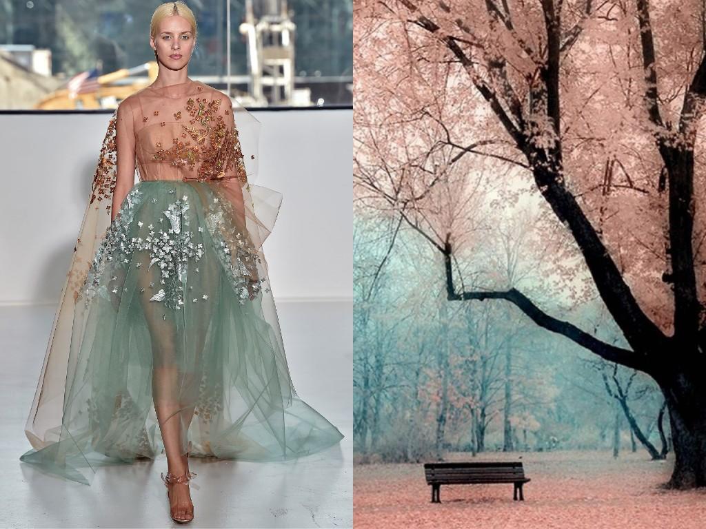 """「このプロジェクトは""""1+1""""と呼んでいます。有名なデザイナーによるドレスを選んで、自然、建築、花、絵画などの中からそれに類似したものを選び、コラージュを形成するのです」とリリヤはロシアNOWに対して説明した。/ デルポゾ(2015年春夏)と紅葉(赤外線写真)。"""