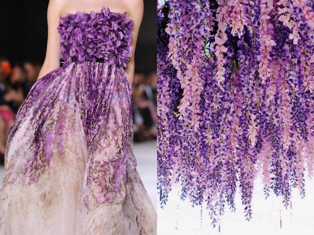 """「この一連のコラージュは""""ファッションと自然""""と名付け、様々なデザイナーや彼らの作品から得たインスピレーションを私なりに解釈し、ファッションと自然の間にある密接な関連性を提示するのです」とリリヤさんは語った。/ ジャンバティスタ・ヴァリ(2014/15年秋冬)とフジの花 (laurabagozzi)。"""